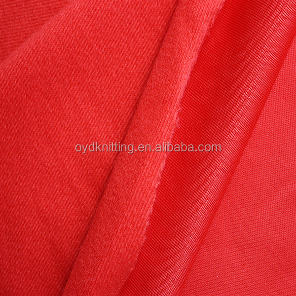 Polyester Warp Knitted Red Color One Side Tricot Brush Fabric for Garments/Lining