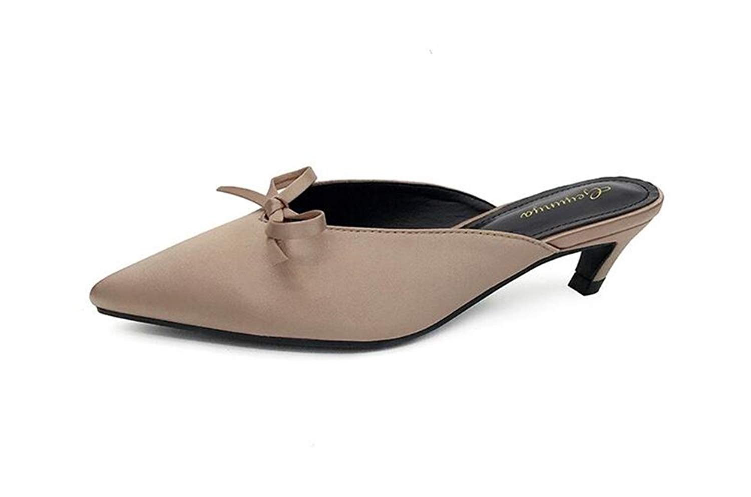 9c1ef28a1e3 Get Quotations · COLOV Women s Bow Adorned Kitten Heel Handcrafted Suede  Mule