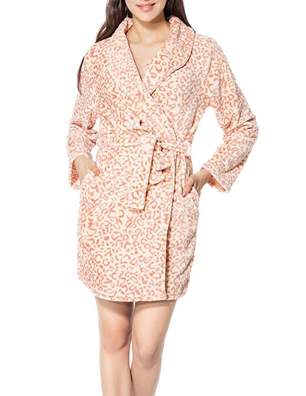 656db1bc00c Get Quotations · Fensajomon Womens Sexy Warm Flannel Fleece Robe Leopard  Print Bathrobe Homewear