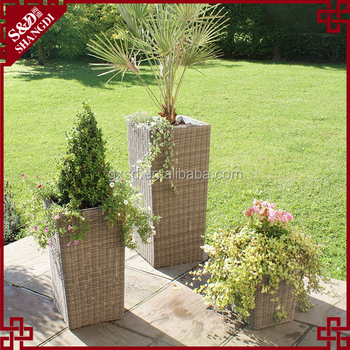 Custom Rattan Garden Planters 1m Outdoor Plastic Flower Pot