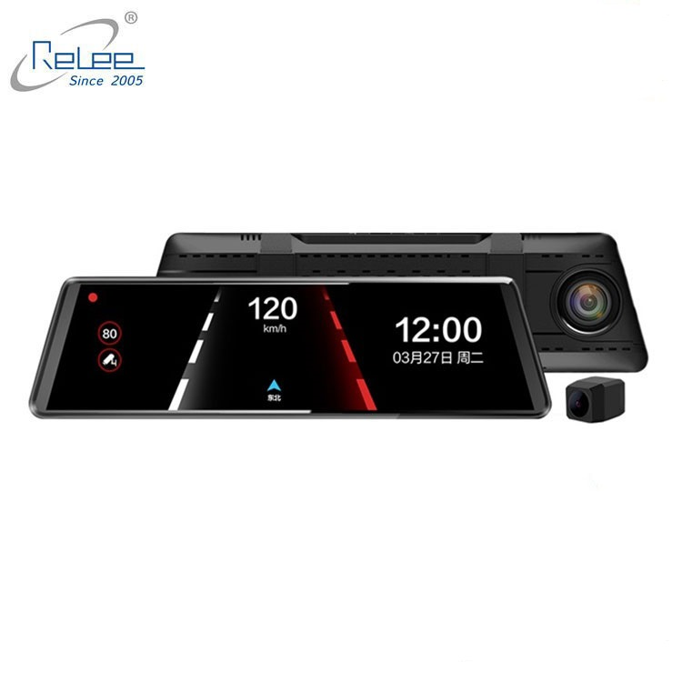 New 2.5D Mirror 1080P  starlight night vision 4.3 inch touch screen rearview car mirror dvr with dual lens