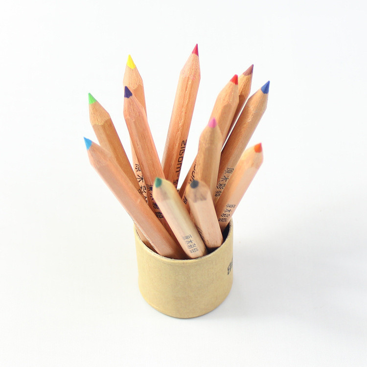 Bona yiwu promotional custom logo 12pcs wooden color pencil
