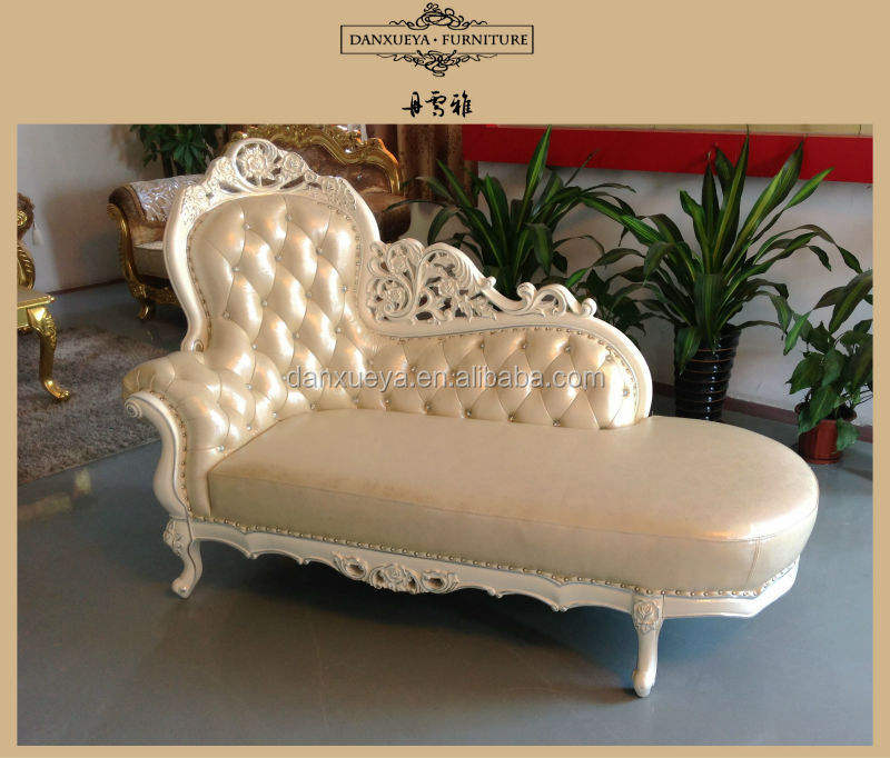 Beautiful White Leather Wood Carving Baroque Chaise Lounge Sofa