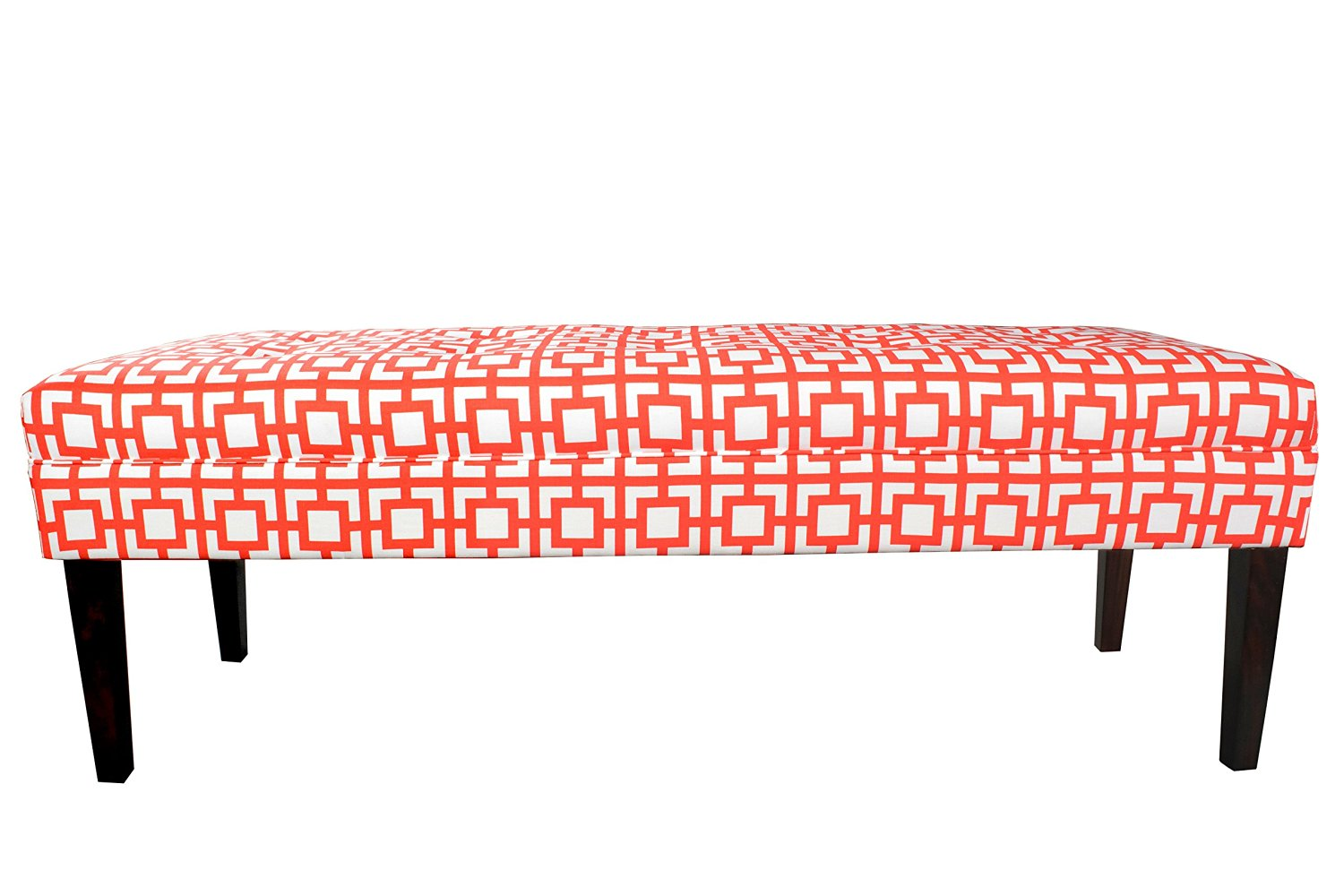 MJL Furniture Designs Kaya Collection Upholstered and Padded Button Tufted Accent Bedroom Bench, Gigi Series, Salmon