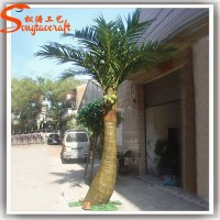 Customize decorative metal cheap artificial palm trees outdoor coconut palm trees outdoor plastic lighted palm tree for sale