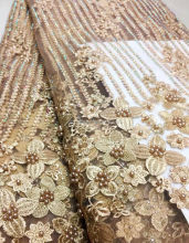 Wholesale 3d bridal lace with handmade French tulle lace fabric heavy beaded lace fabric 5 yards TS23-4