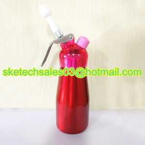 250ML Cream Dispenser with Plastic Lid Whipped Cream Topping Tools Ice Cream Siphon