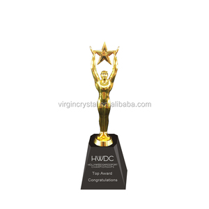 Promotional black crystal base design creative metal figurine with star as military award trophy