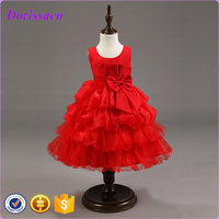 summer sleeveless red kids flower dresses tulle net frock designs for kids C-101