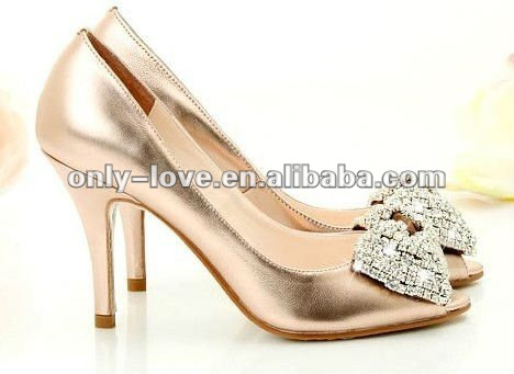 BS137 rose gold open toe diamond butterfly tie bride shoes wedding shoes party shoes