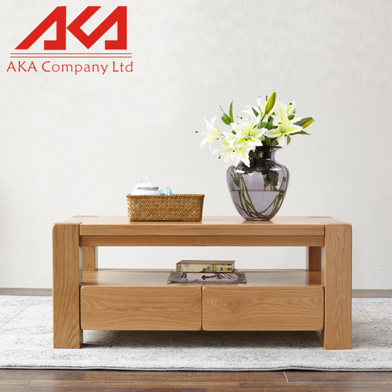 Natural Stained Medium Oak Finish Solid Wood Side Coffee Table