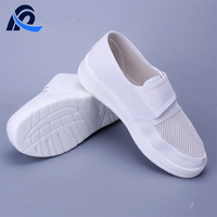 High Quality PU Sole White Leather Antistatic Cleanroom Mesh Shoes