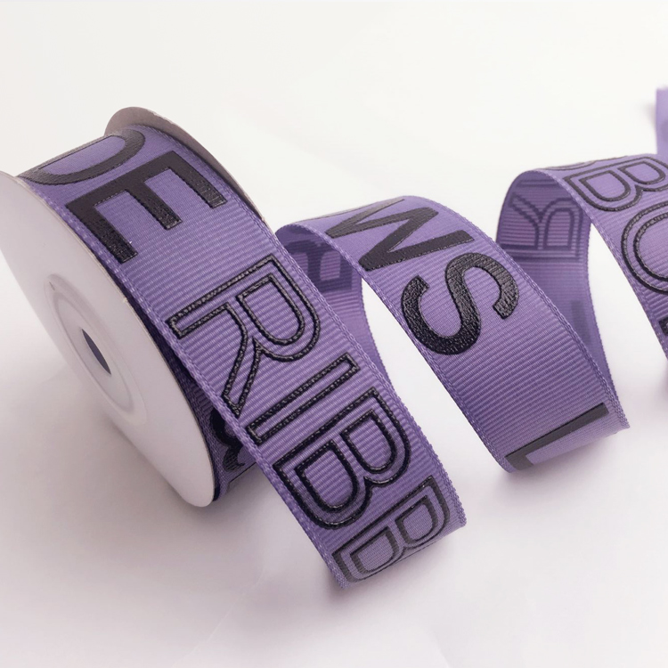 factory wholesale custom logo Printed Grosgrain Ribbon