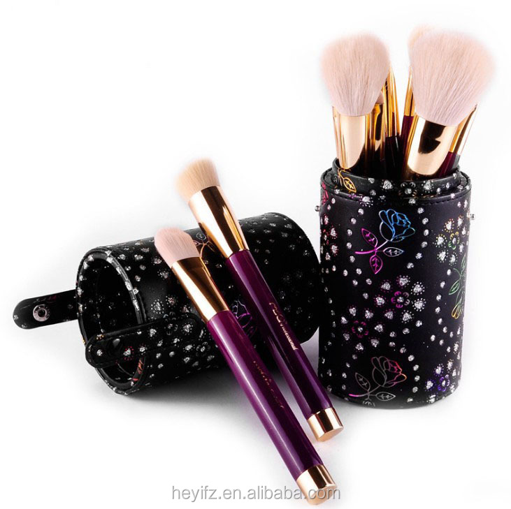Hot Sell High Quality 15PCS Purple Goats Hair Wooden Handle Makeup Brush Set With Glitter Cylindrical Holder