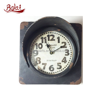 BSCI cheap custom iron and paper with glass black traffic light shape led word clock for supermarket