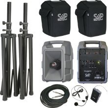 Sound Projections Voice Machine Portable PA System w/ 90-Channel Deluxe Wireless Package (Wireless Headset Mic and Companion Spe