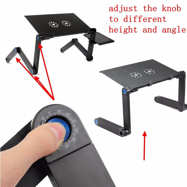 Adjustable Laptop Stand for Bed & Sof Portable Laptop Stand - Sturdy Aluminum Desk Stand w/Anti-Slip Bars & Cooling Fans