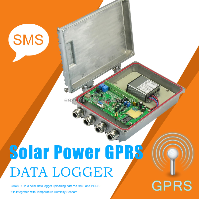 Wireless gsm sms temperature control recorder Solar Power Data Logger