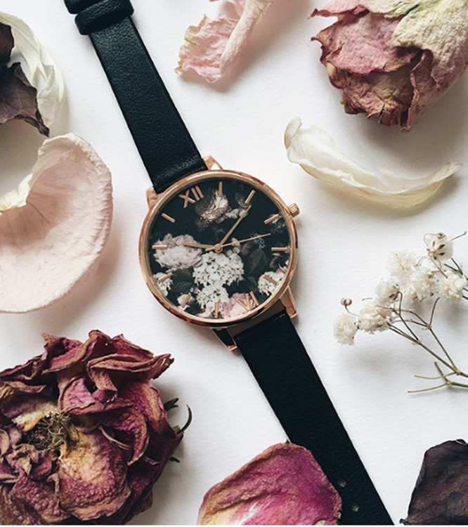 wholesale ladies dainty blossom and hummingbird printed dial japan movt rose gold watch