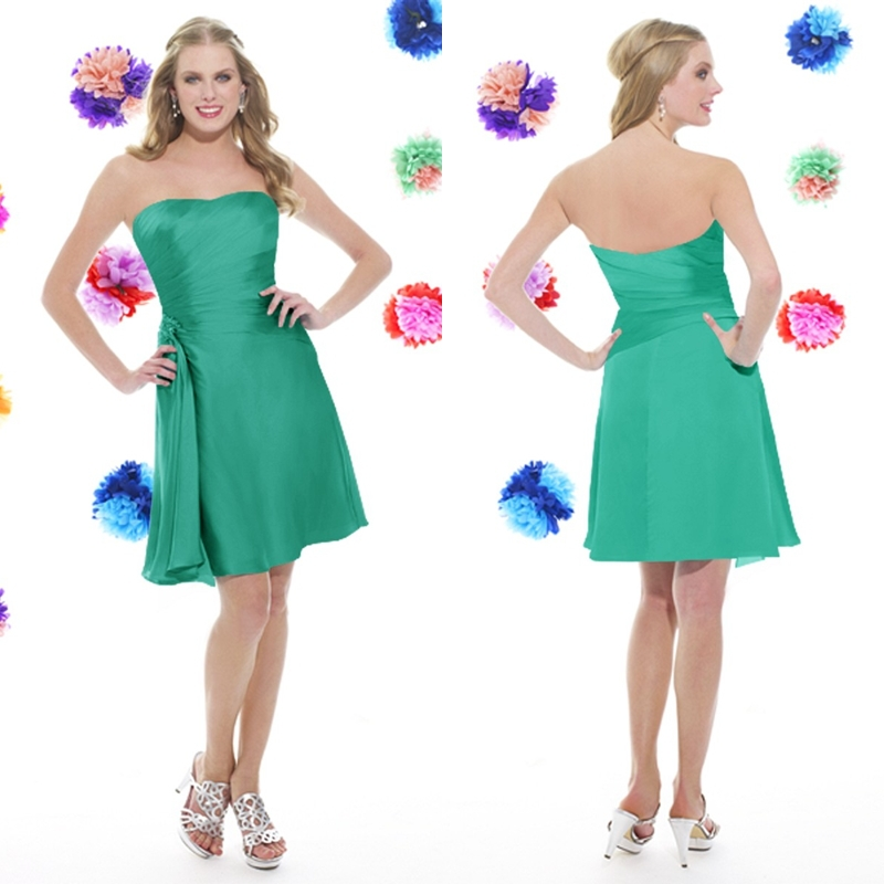 Get Quotations · Hole Sale Strapless Pleats Green Chiffon Short Bridesmaid  Dresses 2015 Knee Length Lavender Mint bridesmaid dresses 345c6fdb65d9