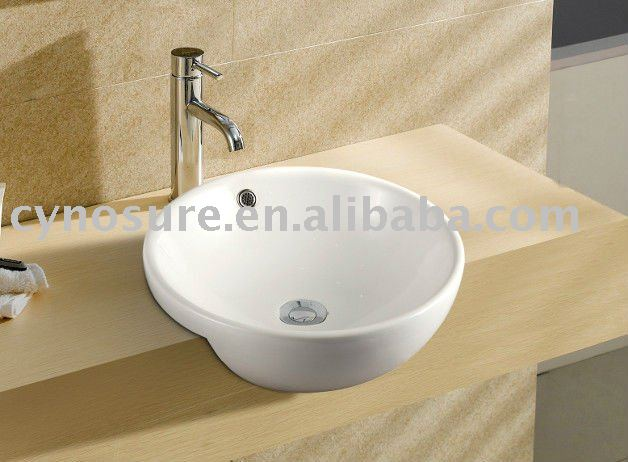 Ceramic Round Semi Recessed Basin Cy5158a Product On Alibaba