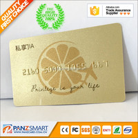 Standard credit card size plastic gold embossed PVC gold foil plastic cards