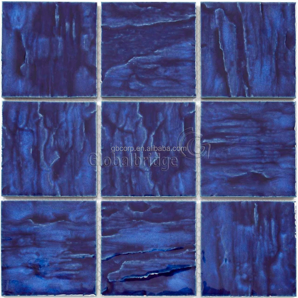 Dark Blue Glazed Cheap Ceramic Tile Mosaic Wavy Pool Tiles - Buy ...