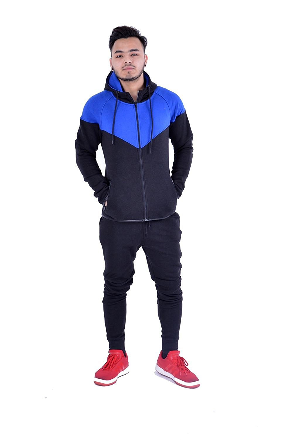 Kids Contrast Cord Fleece Full Zip Up Kids Tracksuit Hoodie Gym Suit Jogging Joggers