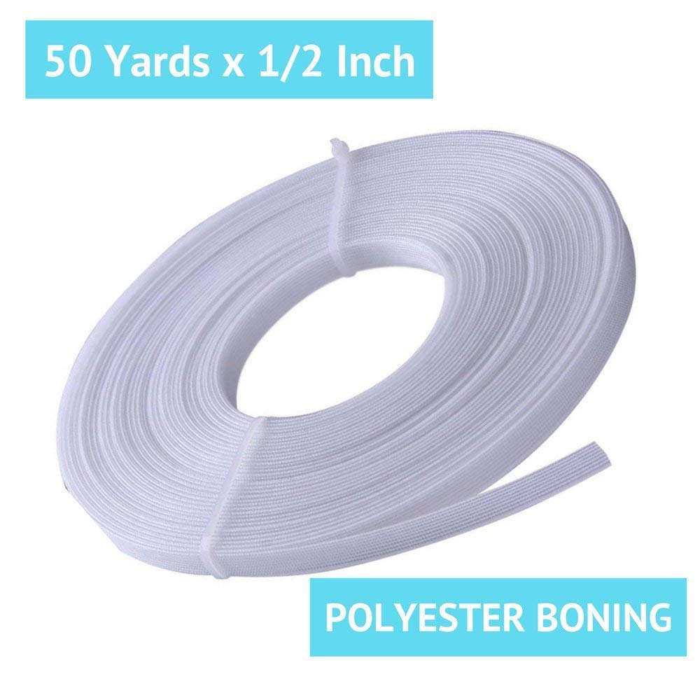 9fe6511524 Get Quotations · 50 Yard x 1 2 Inch Polyester Boning for Sewing -  Sew-Through Low