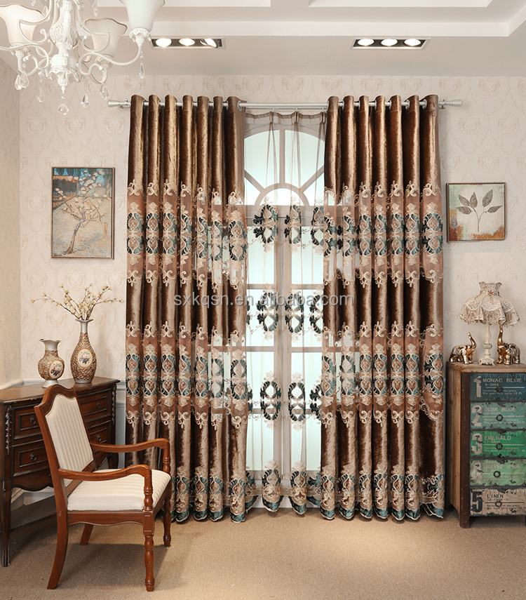 China luxury embroidery curtains tulle oriental curtain rods