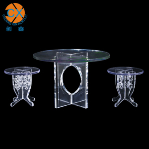 Competitive Price Acrylic Dining Folding Table Set Round Acrylic Dining Table