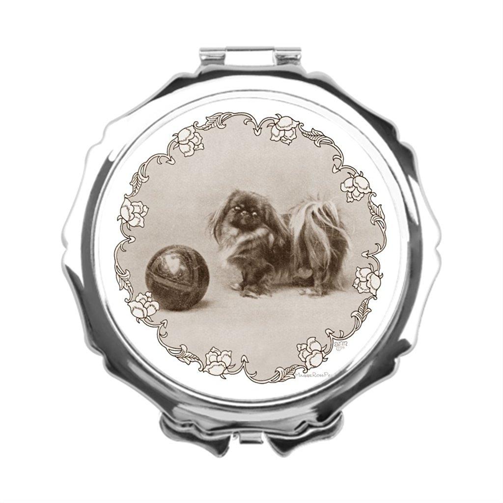 AbbyDay Travel Makeup Mirror Maggie Ross Pekingese Pearl Compact Mirror Engraved Compact Mirror Pekinese Makeup Mirror Vanity