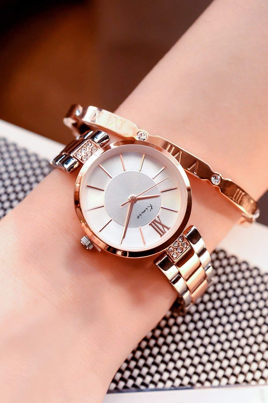 JEGOAU Women Gift Ladies Fashion Watch Women Watch Chain Watch Quartz Watch Waterproof (Stylish Gold