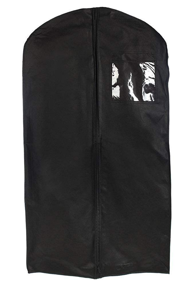 "Tuva Breathable Tuxedo and Uniform Garment Bag 46"", Black, with 6""x6"" Window Pocket"