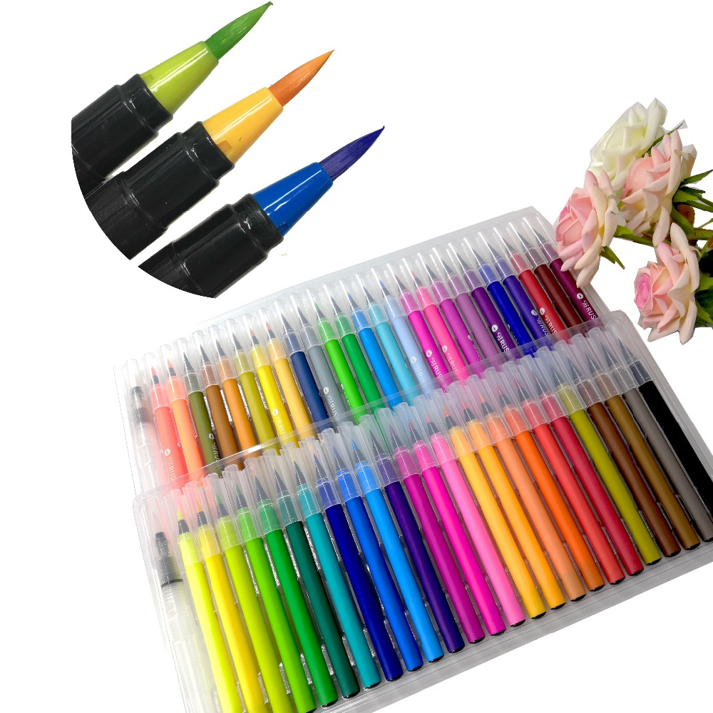 20 48 100 Colors Real Nylon Tip Water Based Color Ink Watercolor Brush Art Markers Watercolor Soft Brush Pen Set
