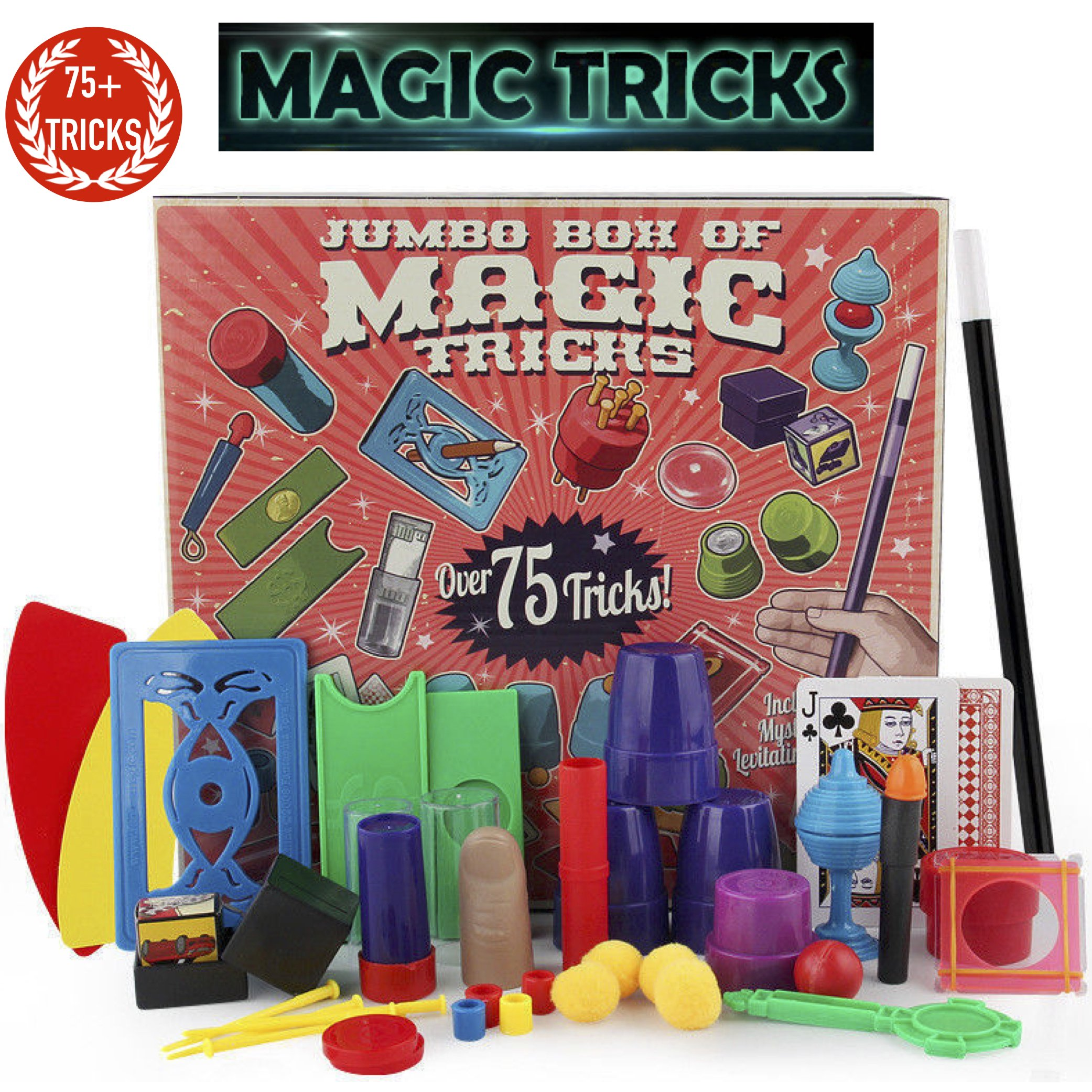 PinSpace Jumbo Magic Tricks Set for Kids with Over 75 tricks, classic illusions, Mysterious Levitating Wand, Magic Cup Ball, Coin Tricks, ready to play, idea birthday gift for kids 6 years and up