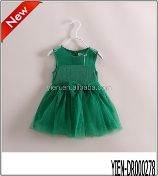Hot New Arrival Baby Dress Green Big Butterfly Tie 2014 Baby Frock Designs