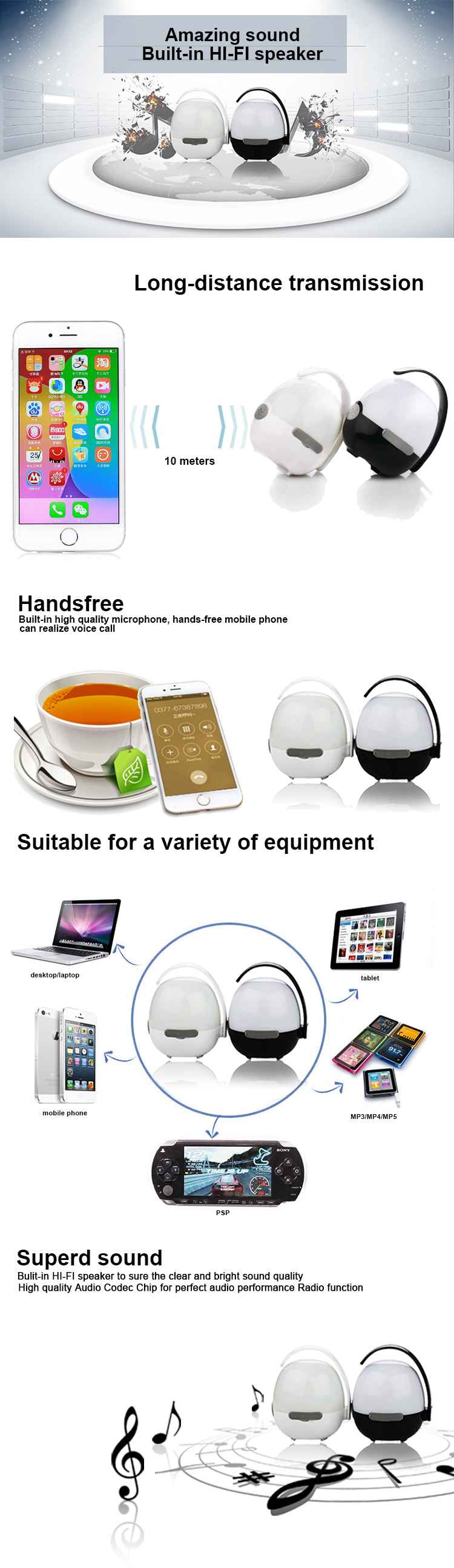 Factory direct sale portable usb wireless speaker led lamp