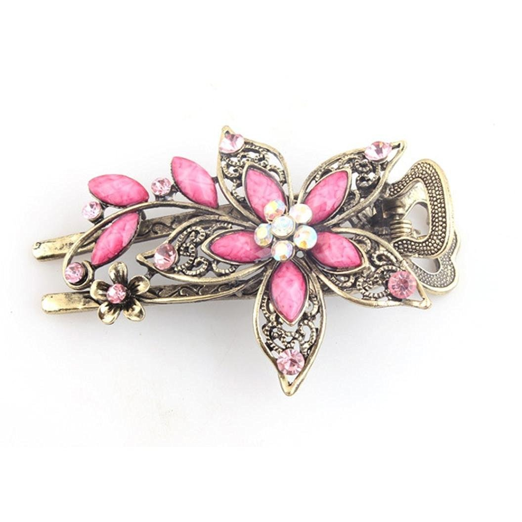 Buy pink crystal hair clip fashion jewelry in gold tone peacock creazy vintage jewelry crystal hair clips hairpins for hair clip tools pink izmirmasajfo