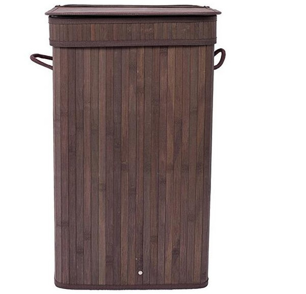 Home Furniture Decorative Foldable Easily Transport Durable Bamboo Square Laundry Hamper With Lid And Cloth Liner String Handles