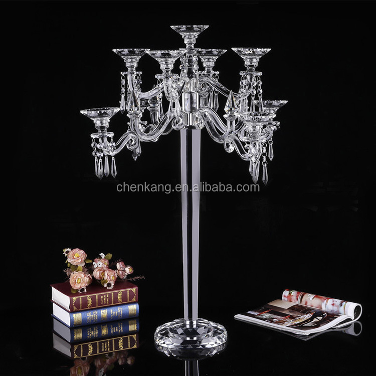 wholesale large table decorative 9 arms lampshades crystal candelabra wedding centerpiece