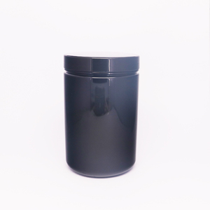 Black 25oz PET Straight Sided Protein Powder Jar with Induction Seal