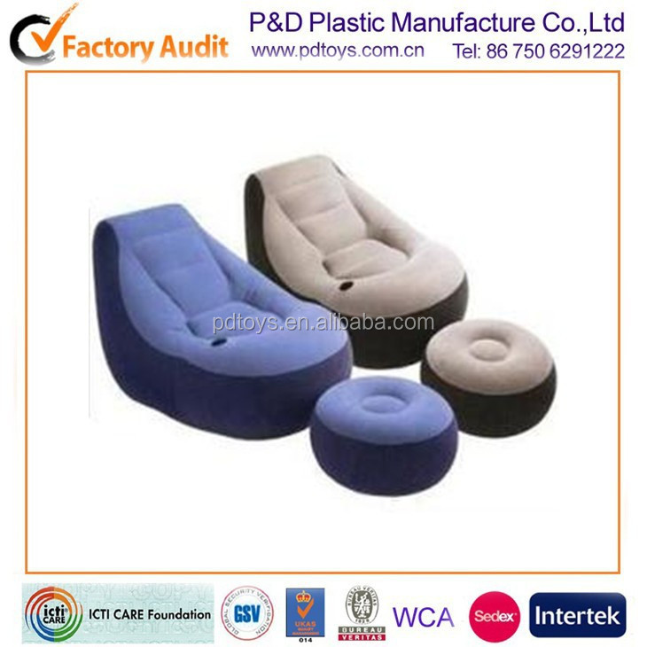 ASTM PVC air inflatable diwan sofa sets with stool,cup holder