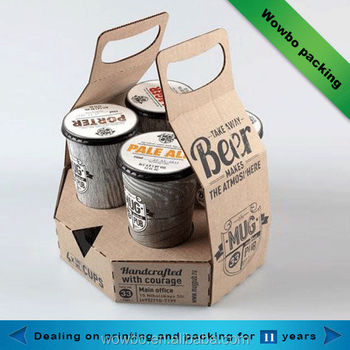 Corrugated Paper Coffee Cup Packaging Box With Handle Beer