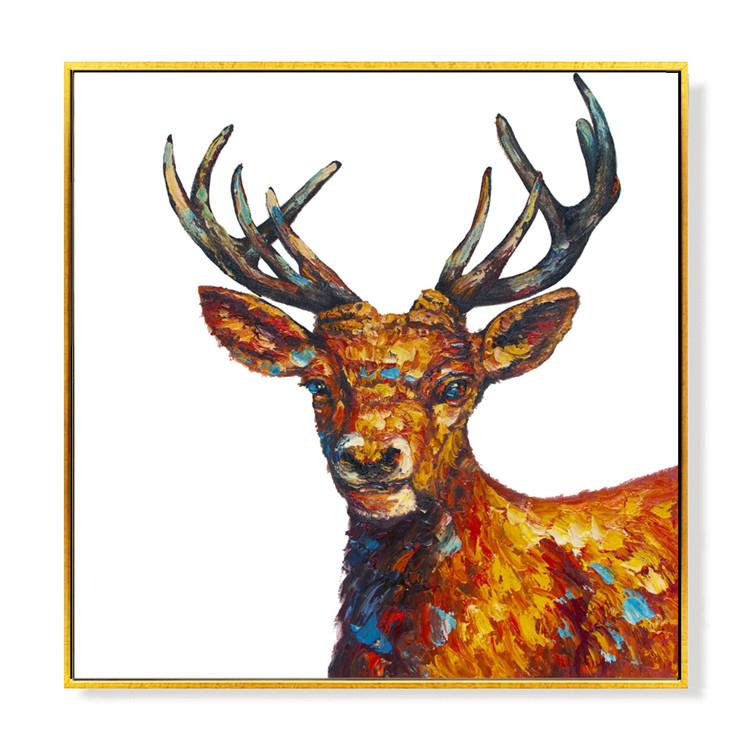 Deer Beautiful Colorful Modern Artwork Palette Knife Oil ...