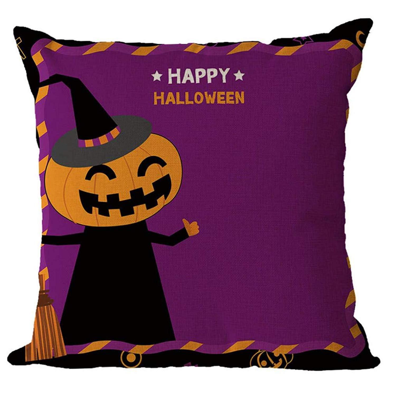 MaxFox Halloween Geometric Design Throw Pillow Cover 18 x 18 Inch Flax Pillow Cover for Sofa Bedroom Car Decor