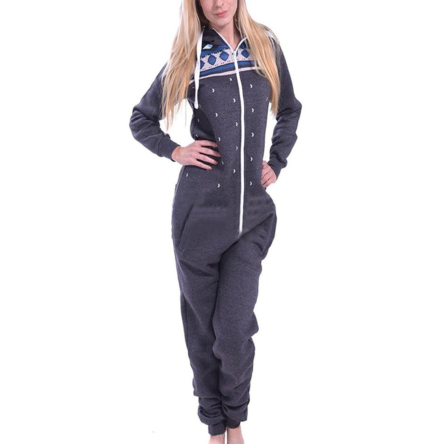 4c92d542ad0d Get Quotations · ONAMANO Women s Pajamas Onesie Jumpsuit Snowflake Hood  Hoodie Zipper Up One Piece Jumpsuit