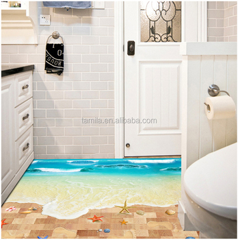 Neue 3d Meer Strand Boden Aufkleber Kreative Pvc Druck Boden Zimmer