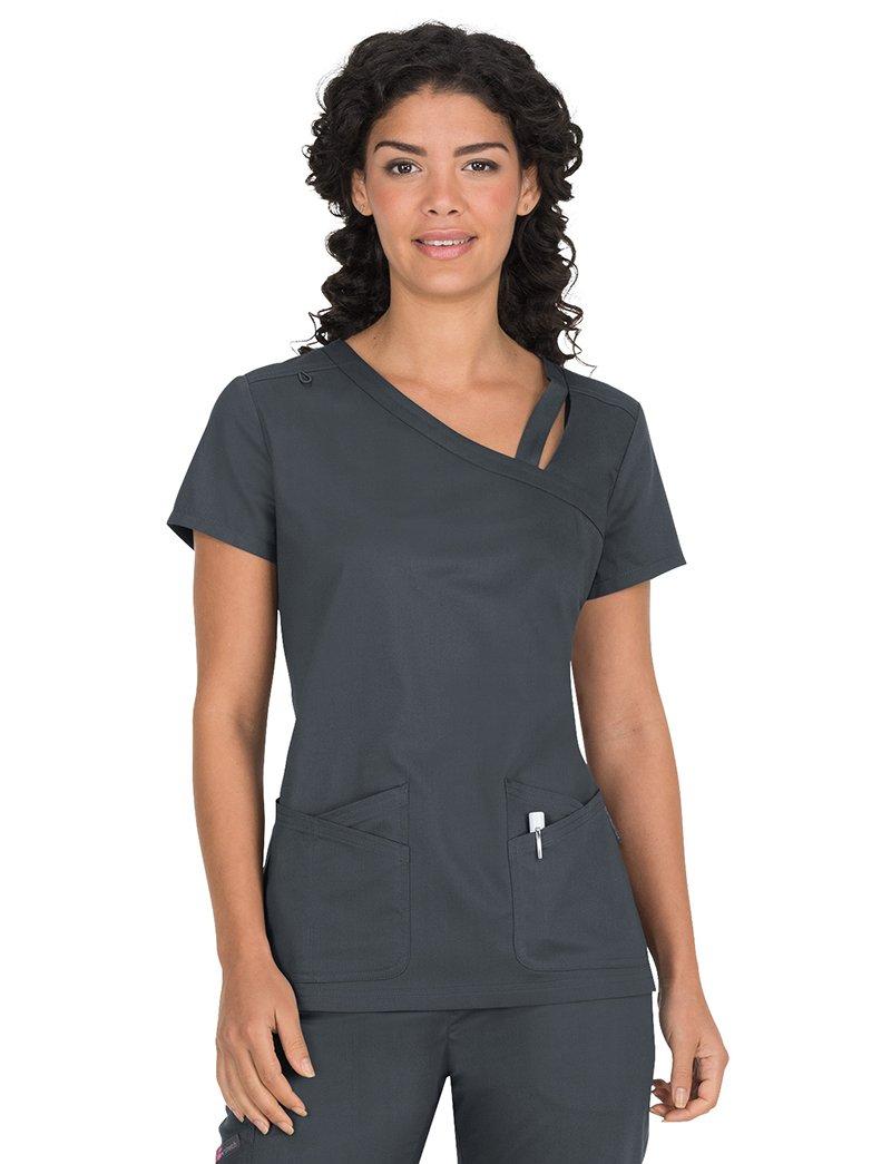 c078c289d13 Get Quotations · KOI Stretch Women's Leah Asymmetrical Cutout Neckline  Solid Scrub Top
