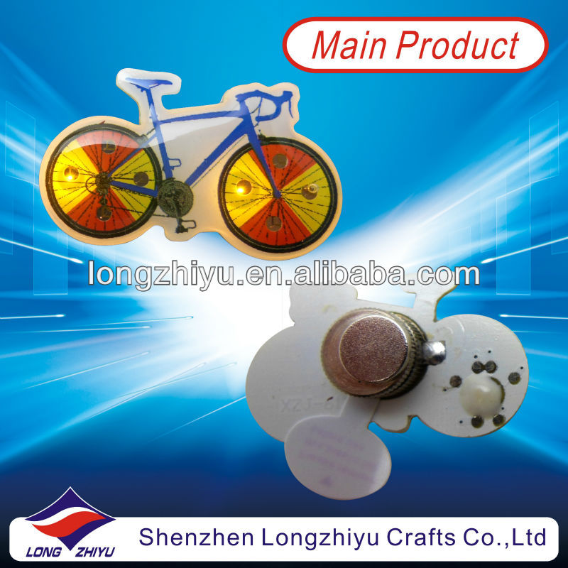 Bike PVC flashing custom badge emblem lapel pin manufacturers in Chian/2013 new metal pin badge button